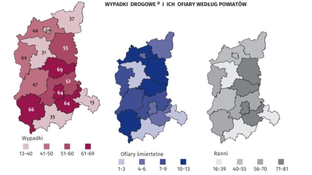 Wypadki drogowe w Lubuskiem wg. powiatów w 2019 r.